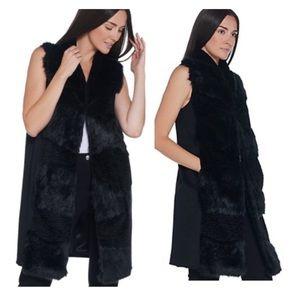 Dennis Basso Madison Ave Abstract Black Fur Vest